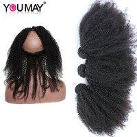 Монгольский Девы волос 360 кружева фронтальной с Комплект афро кудрявый вьющиеся волосы человека Комплект s с закрытием вы можете