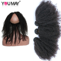 Mongolian Kinky Curly Virgin Hair 360 Lace Frontal With Bundle Afro Kinky Curly Human Hair Bundles