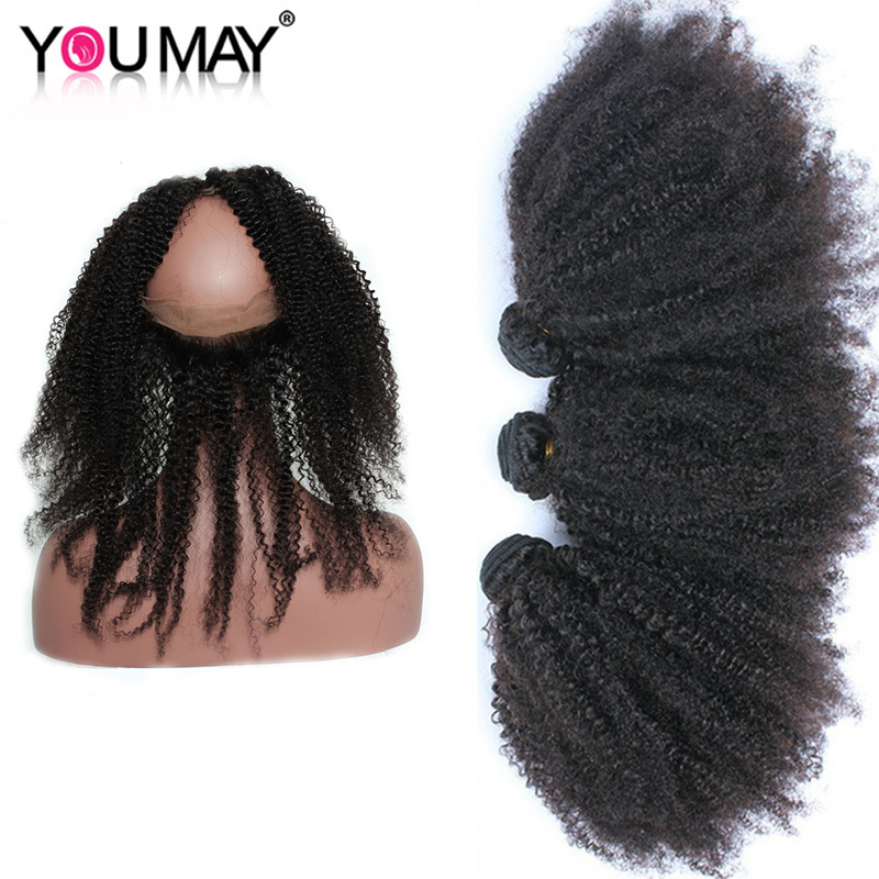 Mongolian Remy Hair 360 Lace Frontal With Bundle Afro Kinky Curly Human Hair Bundles With Closure You May