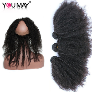 Remy mongol Cabelo 360 Lace Frontal Com Pacote Afro Kinky Curly Cabelo Humano Bundles Com Encerramento Que Você Pode