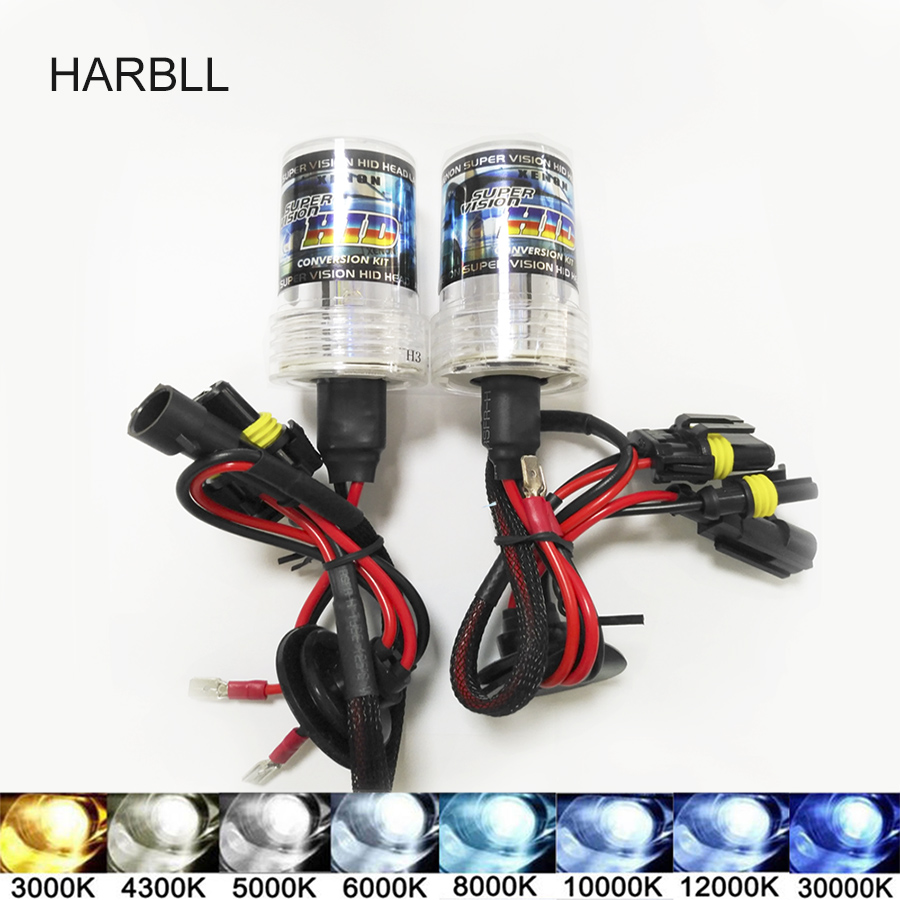 Car Styling 35W H3 Xenon HID Headlight 12V Blue White Yellow Xenon H3 3000K 4300K 5000K 6000K 8000K 10000K 12000K Auto Headlamp