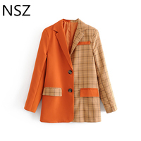 NSZ Women Checked Blazer Plaid Jacket Patchwork Solid Orange Long Sleeve Double Pocket Ladies Office Work Outerwear Coat