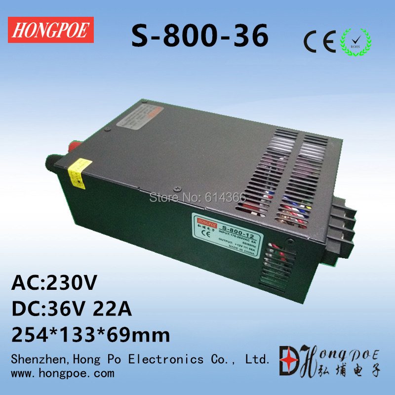 Best quality 36V 22A 800W Switching Power Supply Driver for LED Strip AC 230V Input to DC 36V free shipping best quality 15v 26 5a 400w switching power supply driver for led strip ac 100 240v input to dc 15v free shipping