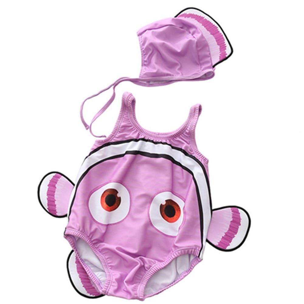 6 M-2 T Baby Badmode Cartoon 3D Vorm Baby Badpak Met Cap Leuke Stuk - Babykleding - Foto 5