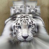 3D Тигр постельного белья размера ферзя 4 шт. Животных печати простыня одеяло/пододеяльник постельное белье постельное белье хлопок главная ...