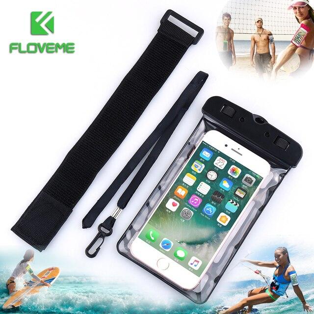 FLOVEME Đa Năng IPX8 Ốp Lưng Chống Nước dành cho iPhone XS XR X 8 Plus Bơi Ốp Lưng Điện thoại Samsung Galaxy S8 S9 s10 Plus Túi Đựng Điện Thoại