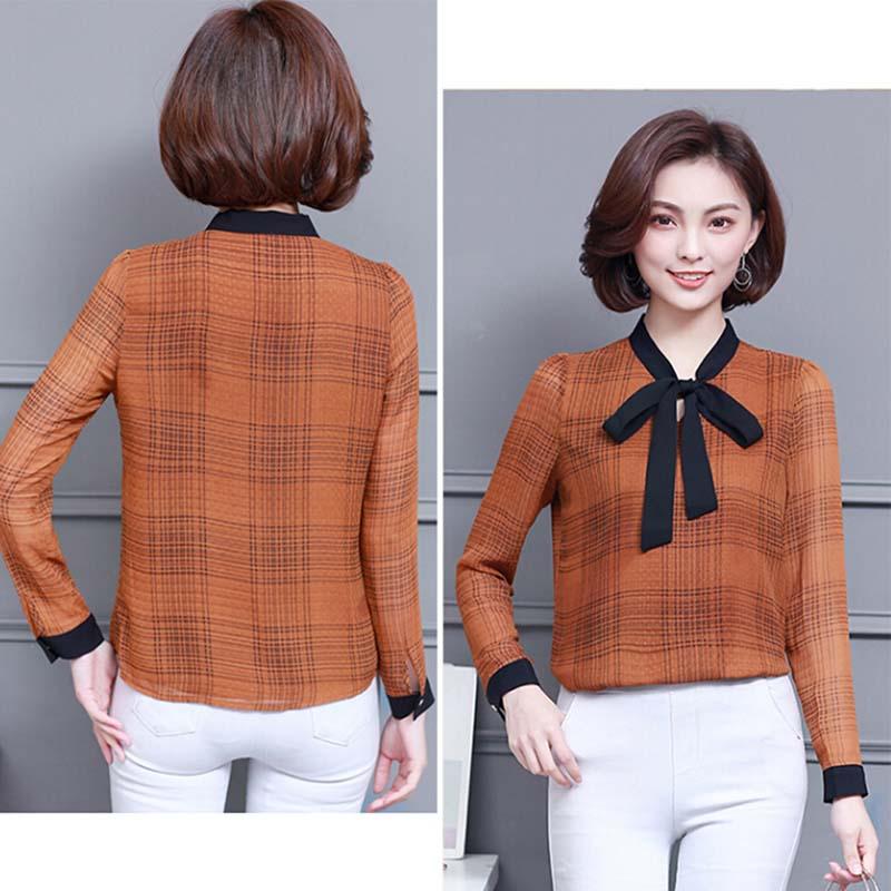 Plus Size Woman Blouses OL Ladies Office Blouse Chiffon Blouse Shirt Plaid Long Sleeve Shirt Tie Neck Fashion Tops