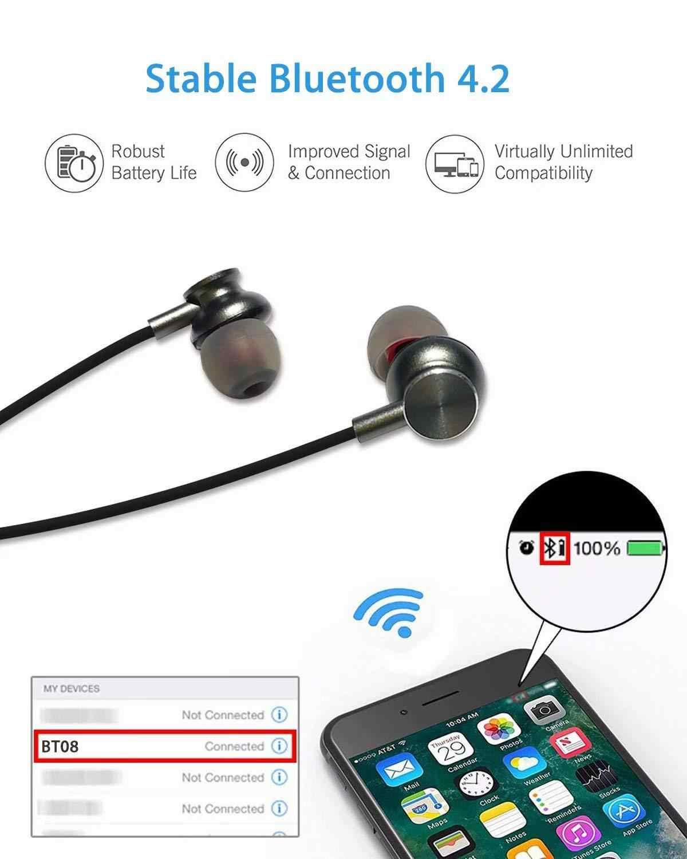 TCG słuchawki douszne bezprzewodowe z bluetooth izolacja szumów magnetyczny zestaw słuchawkowy Sport bieganie jazda na rowerze słuchawki 4D HIFI Stereo słuchawki z mikrofonem