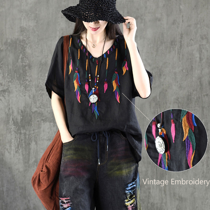 Blouse Women Plus Size Vintage Top Ladies Ethnic Embroidery Blouses Shirts Cotton High Quality 4XL Loose Casual