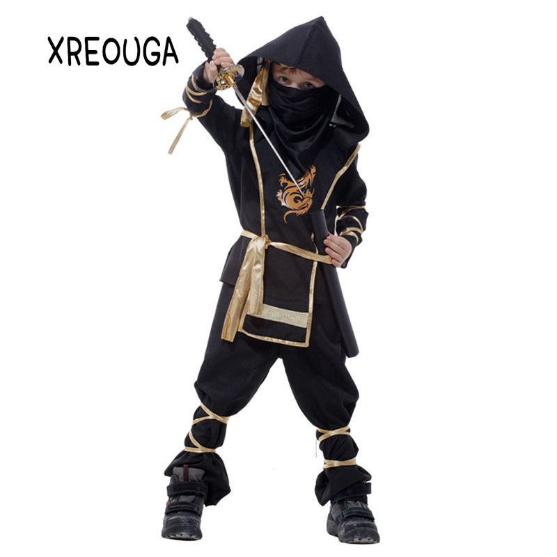 Boys Clothes Sets Black Ninjago Cosplay Costume Children Clothing Ninja Superhero Suits Halloween Christmas Party Clothes CX01 girls boys halloween costumes surgeon sets doctor cosplay stage wear clothing children kids party clothes free drop shipping new