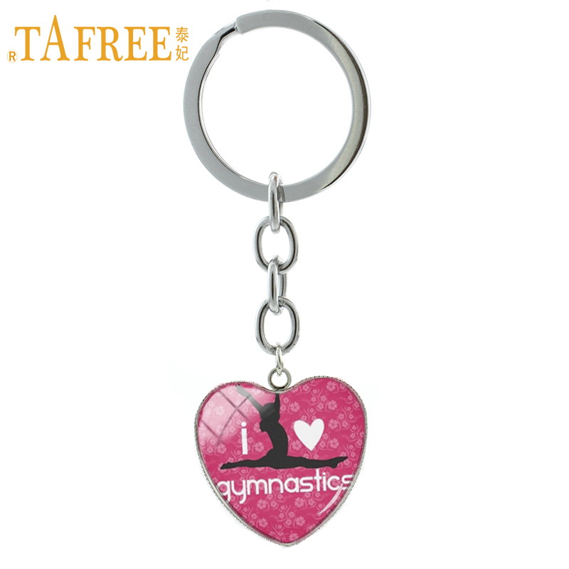 TAFREE I Love Gymnastics keychain classic fashion Gymnastics heart pendant key chain ring exquisite men women jewelry HP355 цены онлайн