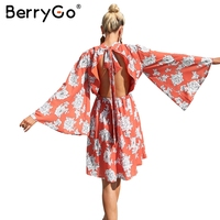 BerryGo Flower Print Lace Up Chiffon Dress Women Flare Sleeve Backless Midi Dress Female Elegant Short