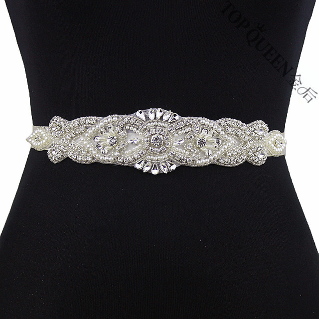 TOPQUEEN S208 Crystal Rhinestone Belt Bridal Sash Fashion Belts For Female  Belt For Wedding Shinning Thin Handmade