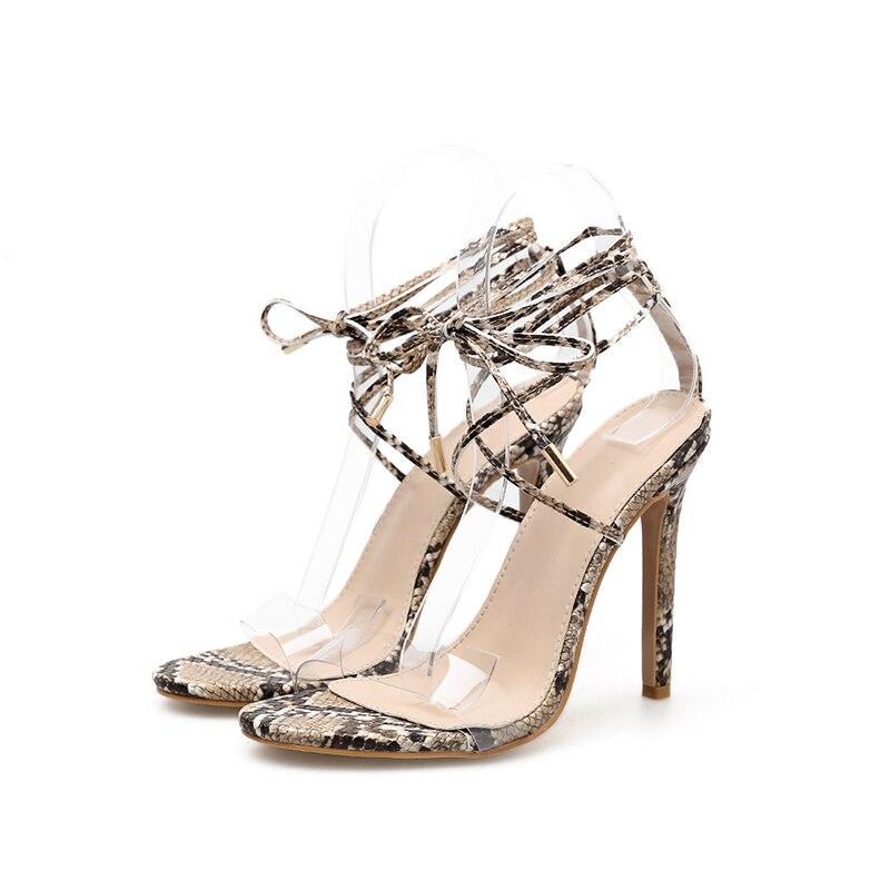 scarpe in con donna Open alti serpente serpente toe tacchi bagnato Sandali moda Wet stampa trasparente 2019 pvc donna estate 5wq7x1Y6z