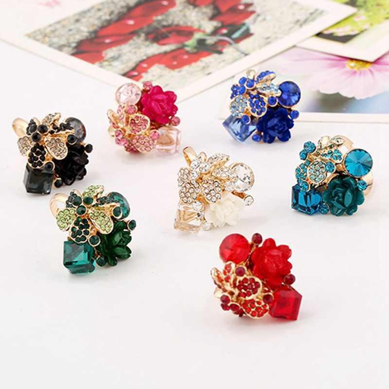 Gran oferta, anillo de cristal a la moda para fiesta, joyería colorida, anillo ajustable de resina de moda para mujer, anillo de flores para mujer