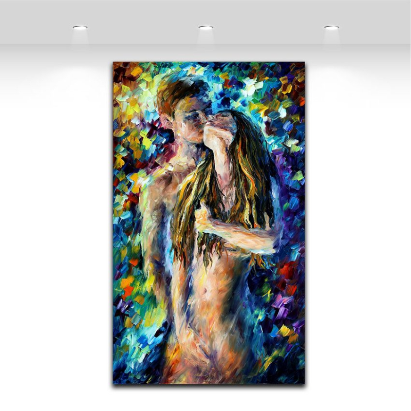 Nude Woman and Man Sex Painting Palette Knife Oil Pictures Body Art - Home Decor - Photo 3