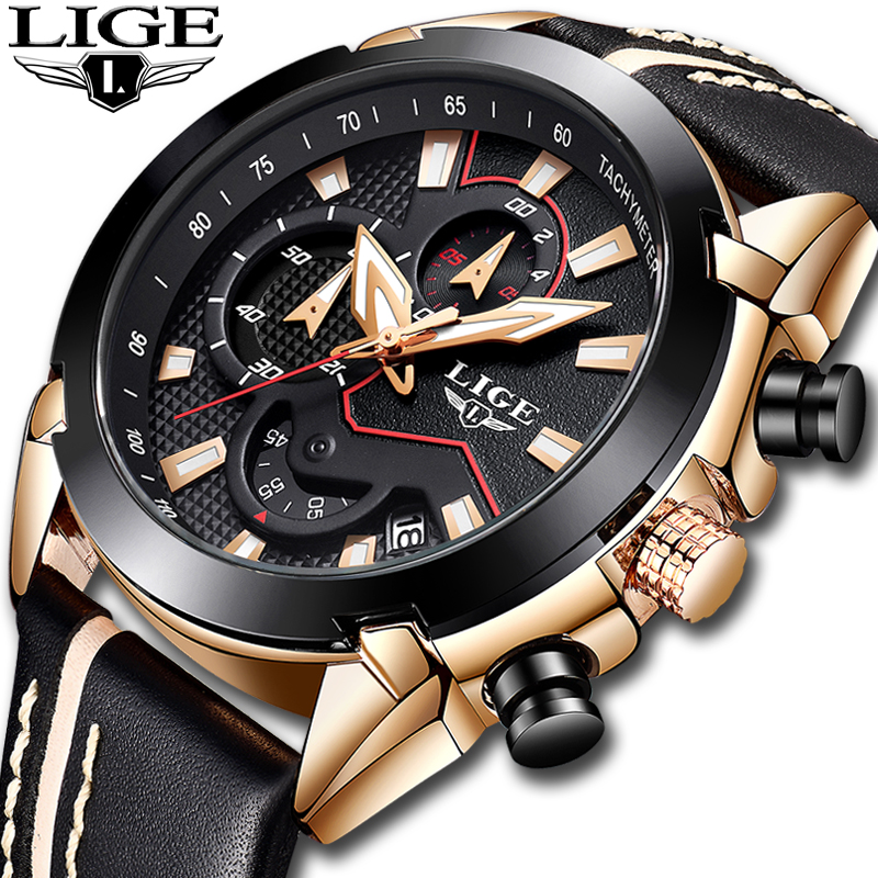 Relogio Masculino 2018 LIGE Mens Watches Top Brand Luxury Leather Quartz Gold Watch Men Business Big Dial Waterproof Chronograph
