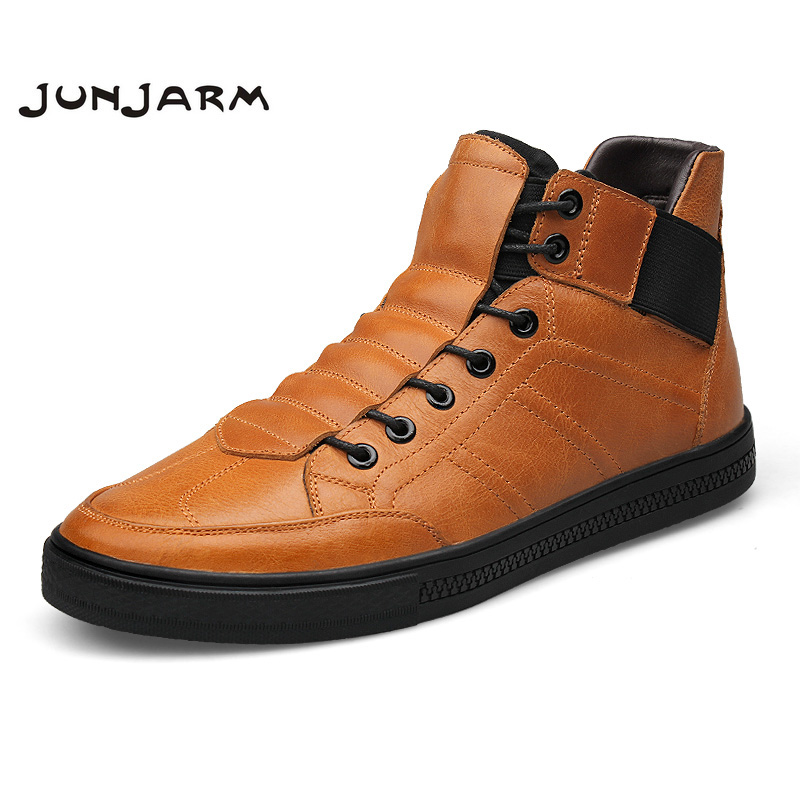 JUNJARM 2017 Hight Quality 100% Genuine Leather Men Ankle Boots Italian Real Leather Men Boots Black Men Winter Shoes With Fur