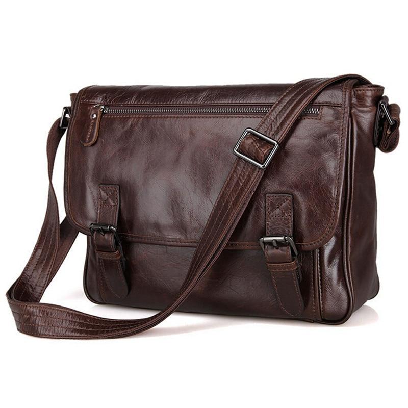 მამაკაცის მოდის ნამდვილი ტყავის მაცნე ჩანთა Shoulder Bag Cowhide A4 სამუშაო ჩანთა Causal Crossbody ჩანთები ჩანთები