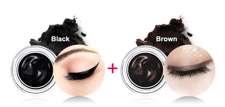 Music Flower 2 in 1 Coffee + Black Gel Eyeliner Make Up Waterproof Eye Liner Cosmetics Set Eyeliner Pens Makeup Brushes Set (13)
