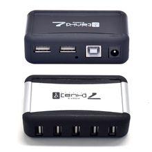 Hub para computador portátil usb 2.0 conversor adaptador de alimentação ca 7 portas alta velocidade durável eua/ue plug