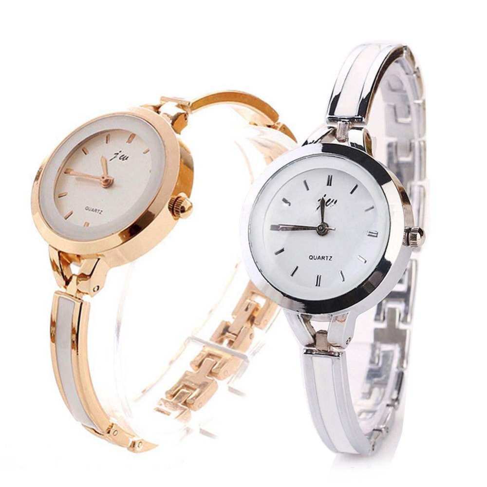 Fashion Women Elegant Bracelet Watch Analog Quartz Thin Stainless Steel Band Bangle Round Dial Dress Wrist Watches  Ladies xinhua 681 bracelet style quartz watch with rhinestone dial stainless steel band for women