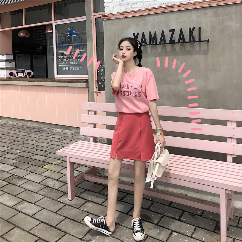 Make little nifty web celebrity goddess leisure suit brim with short sleeves fashionable skirts pink two-piece outfit