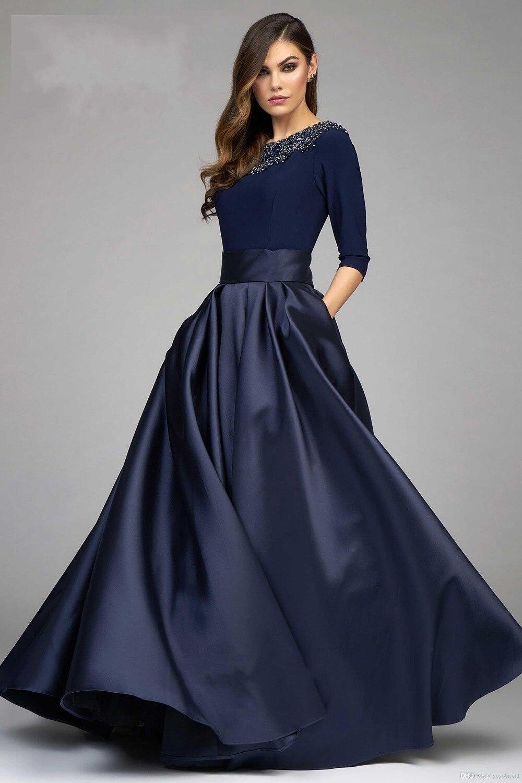 Vintage Navy Designer Evening Dresses Prom Dress 2017 A line Half ...