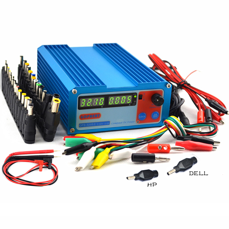 CPS-3205II precision Compact Digital Adjustable DC Power Supply OVP/OCP/OTP low power 32V5A 110V-230V 0.01V/0.01A +40pcs/Connect
