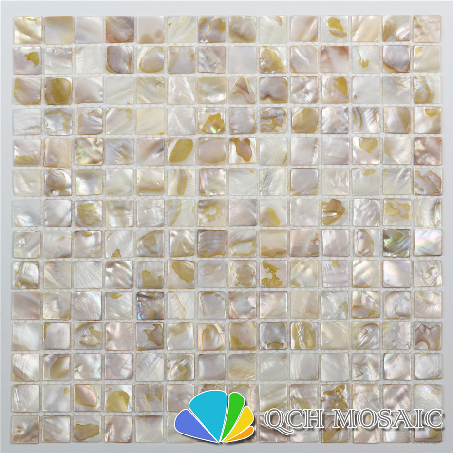 Freshwater Shell Mother Of Pearl Mosaic Tile For Kitchen Backsplash And Bath Room Natural Dapple Color 11 Square Feet/lot