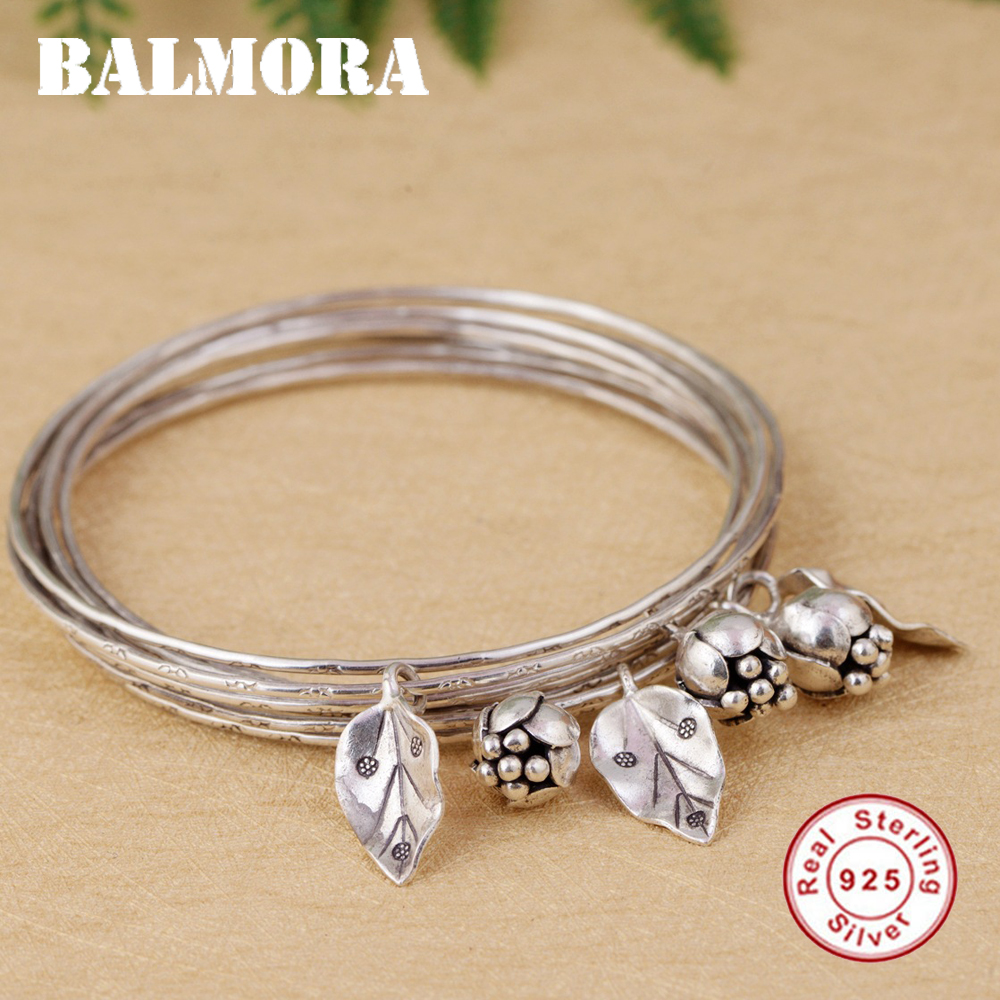 BALMORA 925 Sterling Silver Flower & Leaf Bangles for Women Gift Multi-layer Bohemia Silver Bracelet Jewelry Pulsera SZ0472 stylish leaf pendant embellished multi layered bracelet watch for women