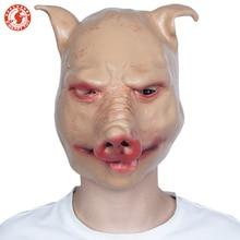 Страшная Свинья Маска Хэллоуин, латекс полный маска для лица Fancydress аксессуар накладные