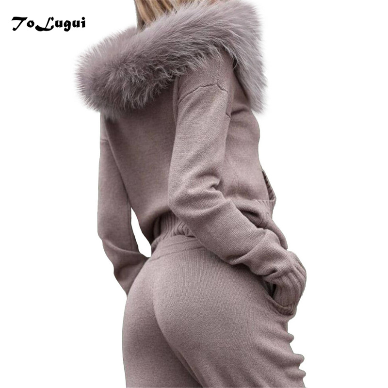 Faux fur collar hooded knit suit 2019 New women Autumn winter Long sleeves Knitted tracksuit casual