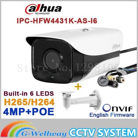 Original Dahua IPC-HFW4431K-AS-I6 4MP POE SD Card slot Audio/Alarm 1/1 channel I/O IR Bullet camera HFW4431K-AS-I6 pulse i o card cqm1h plb21