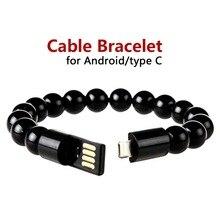 2019, Cable de datos para mujer, pulseras y brazaletes trenzados, cargador para teléfono móvil Android tipo C, Cable de carga Usb, joyería para hombre