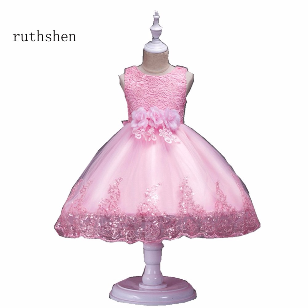 ruthshen Baby   Girls   Pink Red Purple White 2018 In Stock Real   Flowers     Girl     Dresses   With   Flowers   Lace vestido de princesa novia