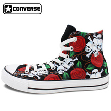 Men Women Original Converse Chuck Taylor Design Roses Flower Skull Hand Painted Shoes Man Woman High Top Canvas Sneakers