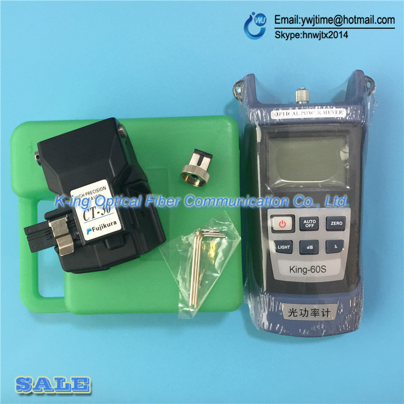 2PC/Lot Fujikura Fiber cleaver CT-30 CT-30A Optical fiber cutting knife+KING-60S high-precision optical power meter -70 to+10dBm
