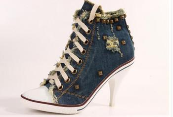 New Blue Denim Ankle Boots Casual Elastic Band  Stiletto Heels Pumps Pointed Toe Cowboy Women's Shoes High Heels Jean  Boots