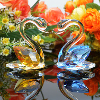 1 Piece 3 Colors Crystal Swan Model Crafts Paperweight Handmade Glass Animal Figurines Miniature Home Decoration
