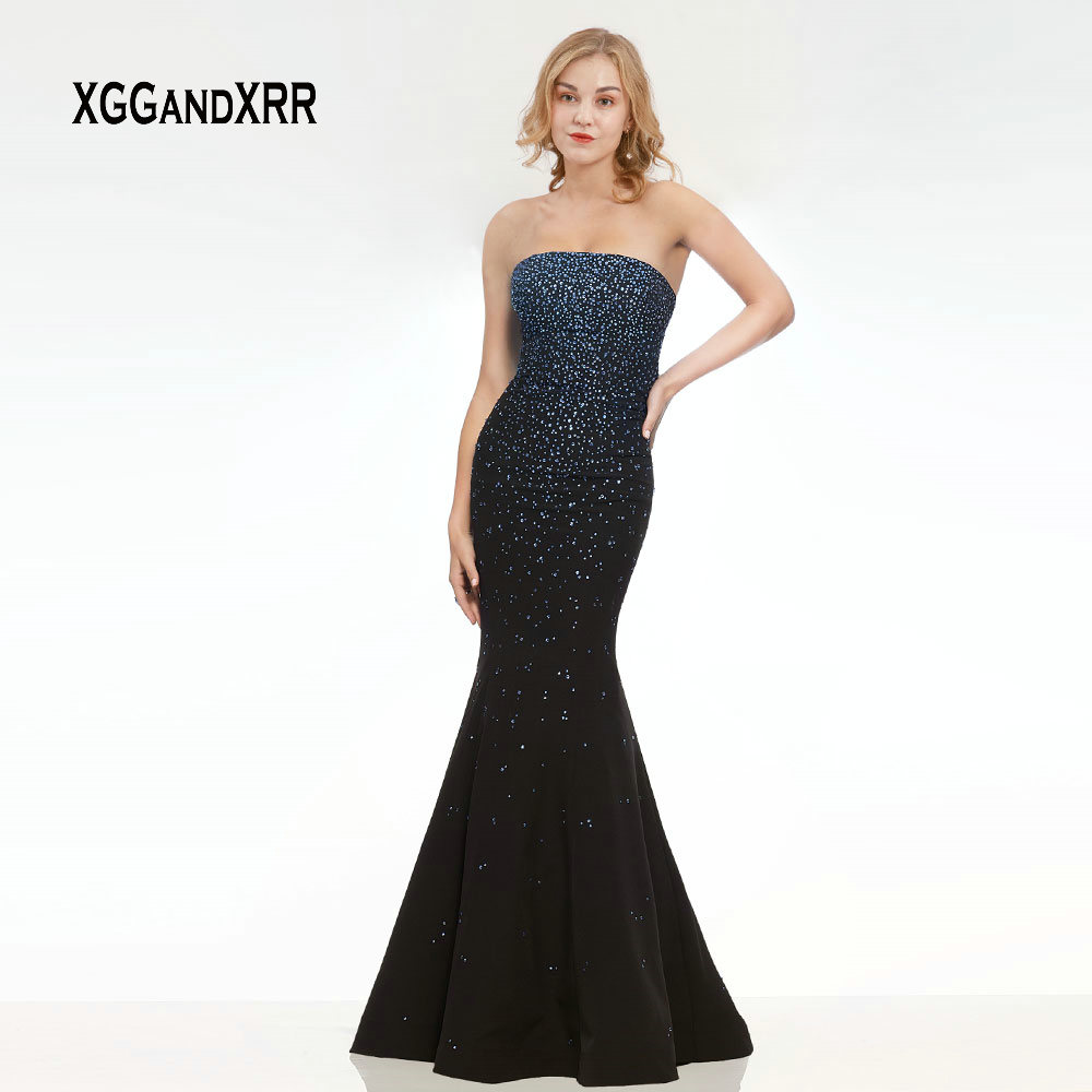Elegant Sparkling Navy Blue Mermaid   Evening     Dress   2019 Strapless Sexy Long Prom   Dress   Crystal Beading Black Formal Party Gown