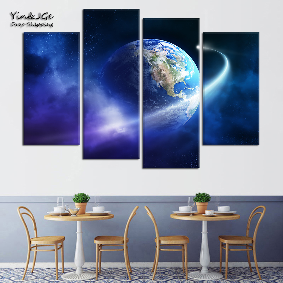 Wall Art 4 Pieces Canvas Painting Planet Modular Landscape Poster Picture HD Printed Home Decoration Living Room Frame Artworks