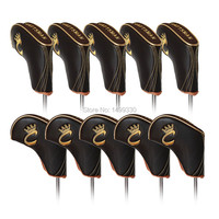 Golf Iron Cover Club Headcovers Soft synthetic pu leather protector 3 4 5 6 7 8 9 aw sw pw gold stitching RH LH Free shipping