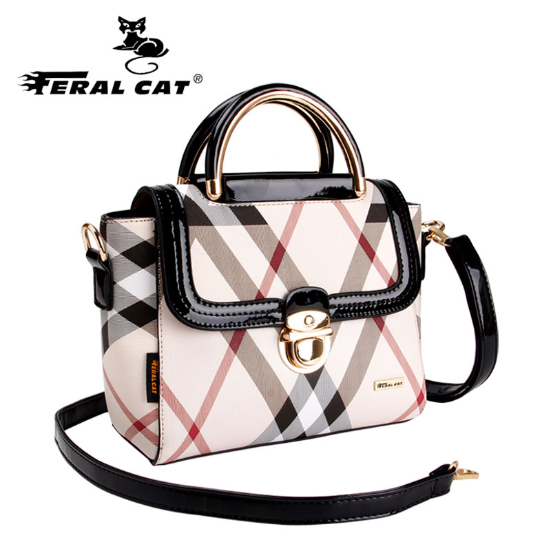 FERAL CAT luxury bolsa feminina famous brand white women's handbags designer shoulder bag gifts for women crossbody bags tote peak lapel pocket wool blend pea coat
