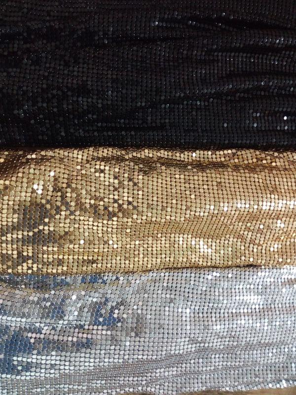 Metal Mesh Fabric Metallic Metalic Metal Sequin Sequined