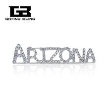 USA States Theme Gift Bling Rhinestone ARIZONA State Word Pin Crystal Brooch Jewelry