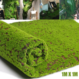 Image 1 - Искусственный мох, искусственная декоративная трава, зеленые растения для рождества, искусственное растение «сделай сам», украшение для стен, сада, 1 м