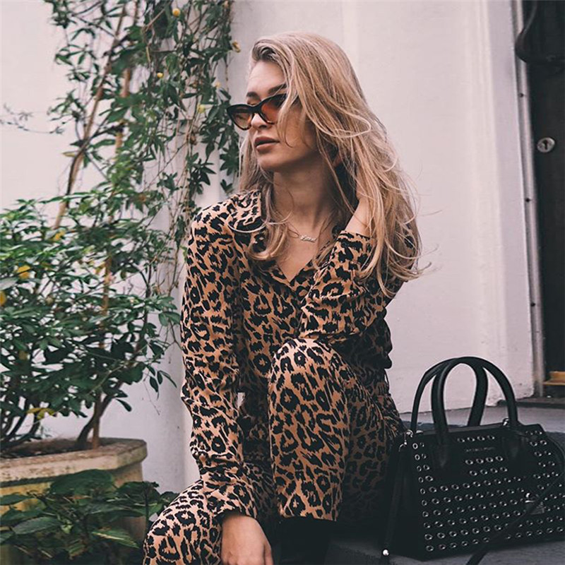 European Style Casual Womens Leopard Jumpsuit Long Sleeve Lady S M Belt Outwear Ankle length Pants Trousers in Jumpsuits from Women 39 s Clothing