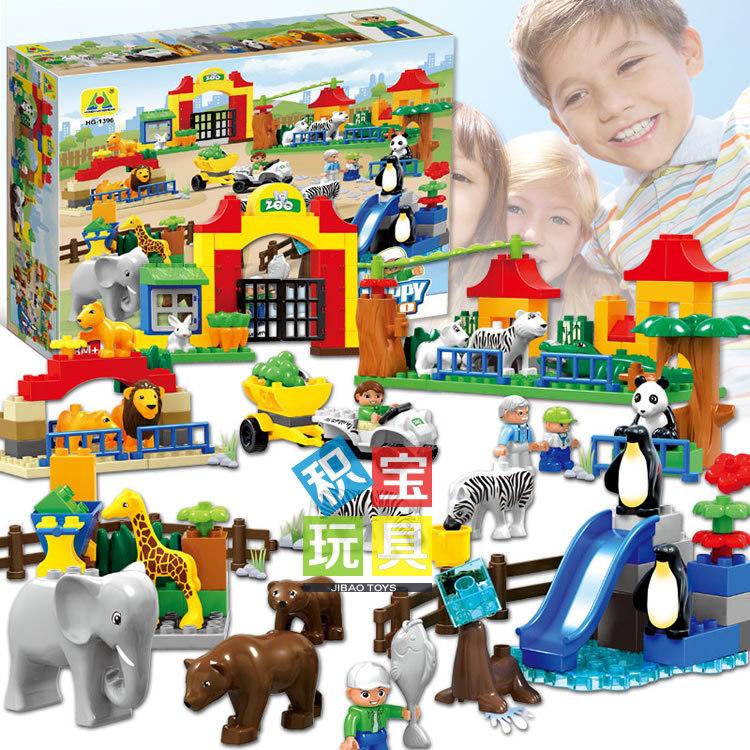 grande tamanho grande zoolgico conjunto de blocos de construo tijolos lepin duplos pcs clssico brinquedos