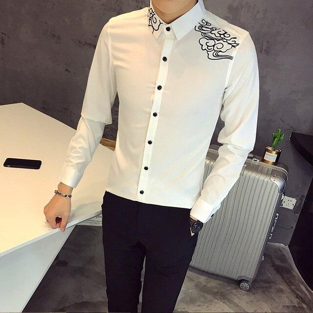 44e34264e40 Brand Designer Tuxedo Fashion 2018 Slim Fit Long Sleeve Shirt Men  Embroidery Casual Plus Size Dress Shirts Male Clothing 5XL-S